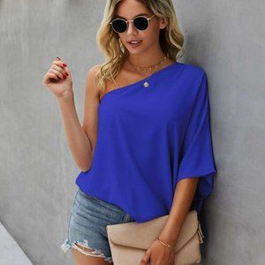 royal blue one shoulder oversized solid blouse